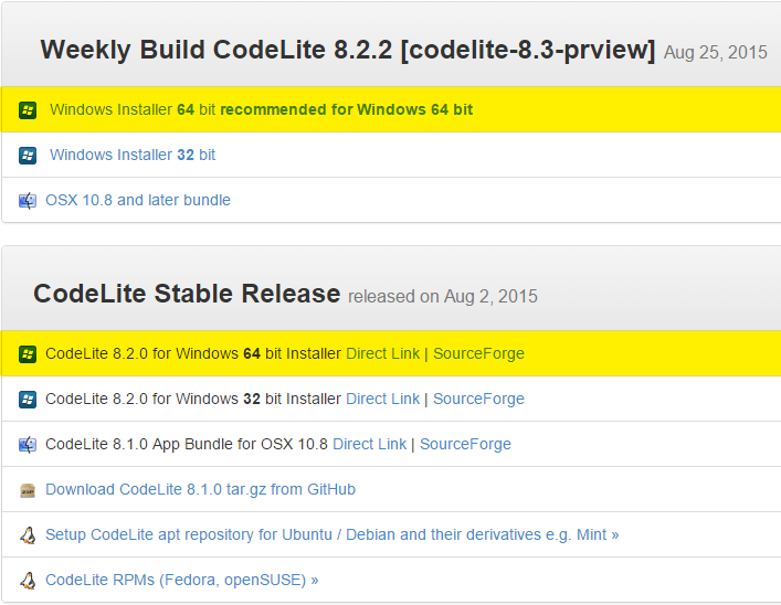CodeLite download page